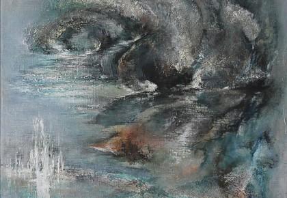 """""""DWALEN"""", Gemende techniek op linnen 50 x 100 cm"""
