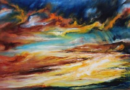 """MYSTERIEUS"", Olieverf op linnen 80 x 120 cm"