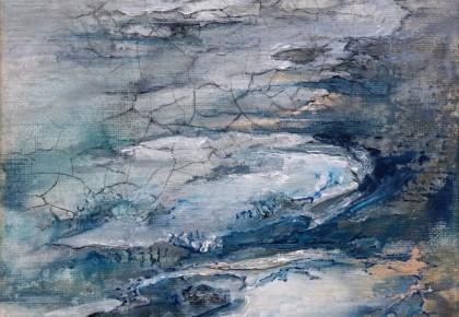 Human battle against nature II, olieverf op linnen doek, 25 x 25 cm
