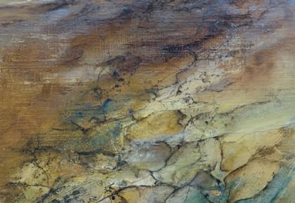 Human battle against nature IV,  Olieverf op linnen doek 25 x 25 cm