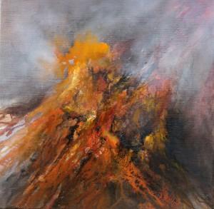 """""""It's burning inside II"""", olieverf op linnen 40 x 40 cm"""
