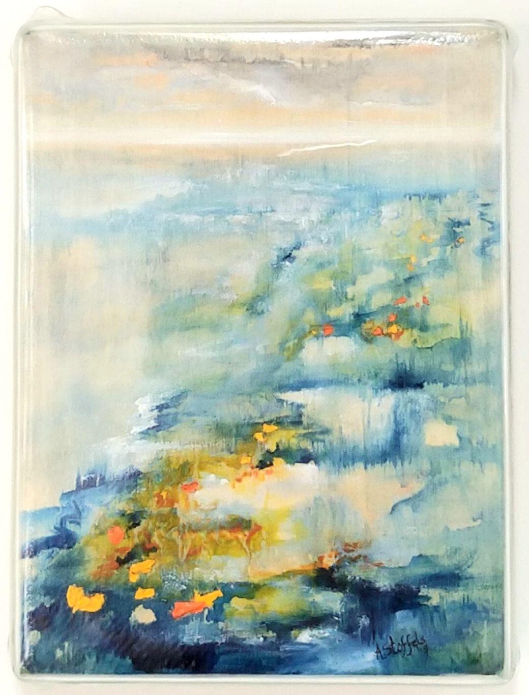 Vulnerable Nature V, Gemengde techniek(olie, acryl, glas) op paneel, 18 x 24 cm